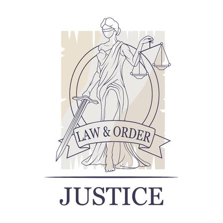 Femida -lady of justice  Lady Lawyer logo  Themis emblem