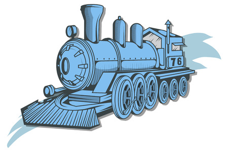 Illustration pour Old train icon. Locomotive drawing. Steam transport. Vector graphics to design. - image libre de droit