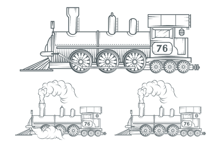 Illustration pour Set of Old train. Locomotive drawing. Steam transport. Vector graphics to design - image libre de droit