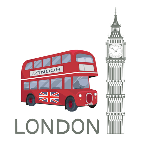 Illustration for Set for design on London. Great Britain. Big Ben Tower. London bus. Vector graphics to design - Royalty Free Image