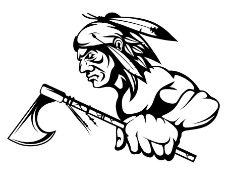 Illustration pour indian chief with an ax in his hand. Vector graphics to design. - image libre de droit