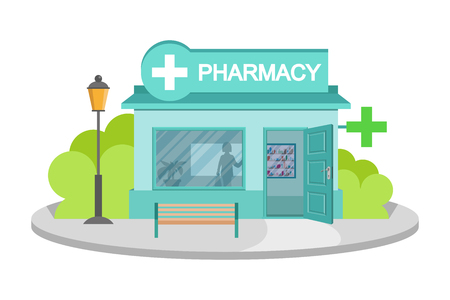 Illustration for Vector image drugstore. Facade of pharmacy store isolated on white background. Drugstore house. Cartoon pharmacy store building. Drugstore front. Vector graphics to design - Royalty Free Image