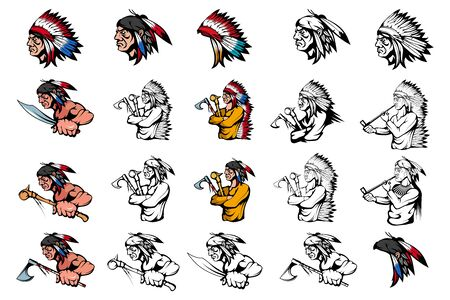 Illustration pour Set of American Indian Chief in different poses. Indian Warrior with a traditional Weapon. Indians with traditional Smoking Pipe. American Native Chief with an ax, knife, and battle mace in his hand - image libre de droit