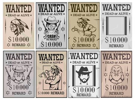 Illustration for Wanted poster. Wanted, dead or alive. Vintage Western poster. Vintage paper. Bandit wanted for reward. Cowboy. Skull in hat. Native american indian. Wild west. Vector graphics to design - Royalty Free Image
