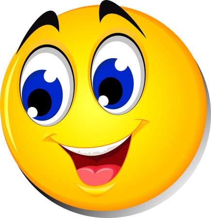 Illustration pour Happy smiley emoticon face on white background - image libre de droit