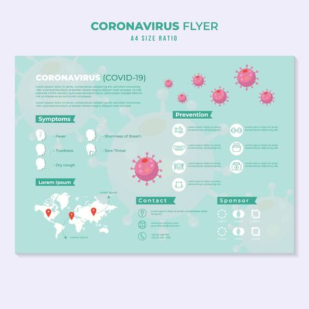 Illustration for corona virus pandemic flyer education template infographic - Royalty Free Image