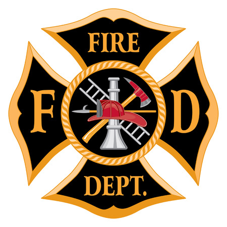 Fire Department or Firefighter's  Maltese Cross Symbol is six color art that can be easily edited or separated for print or screen print. Each major element is on a separate layer for your convenience.