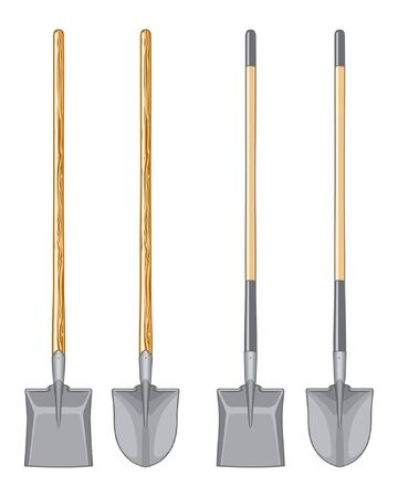 Long Handle Shovel and Spade Illustration.