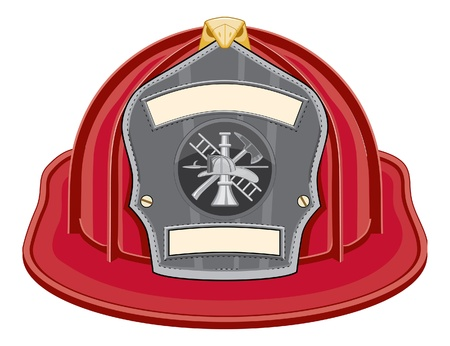 Firefighter Helmet Red is an illustration of a red firefighter helmet or fireman hat from the front with a firefighter tools logo.
