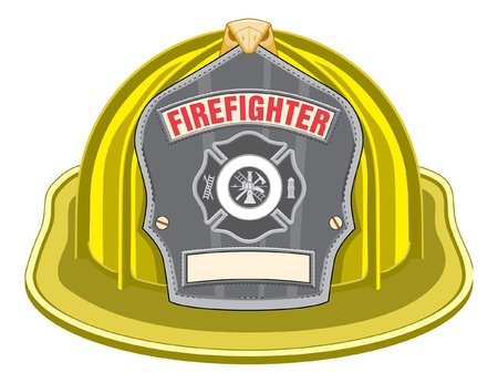 Firefighter Helmet Yellow is an illustration of a yellow firefighter helmet or fireman hat from the front with a firefighter tools logo.