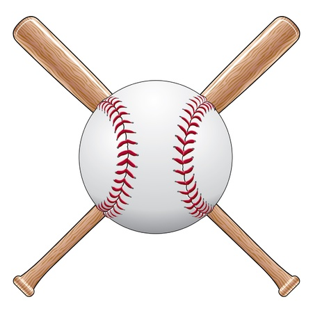 Baseball With Bats is an illustration of a baseball or softball with two crossed wooden bats. Great for t-shirt designs.