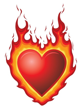 Heart Burn is an illustration of a red heart shape with flames  It could represent heart burn or hot flaming love or passion