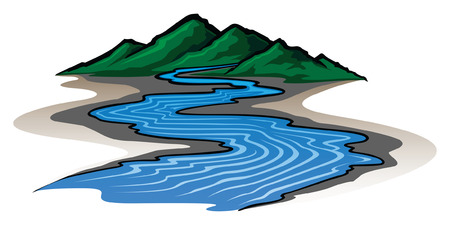 Mountains and River is an illustration of a graphic style mountain range and running river のイラスト素材