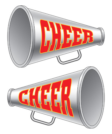 Illustration pour Megaphone-Cheer is an illustration of two versions of a megaphone used by cheerleaders with the word cheer on them. - image libre de droit