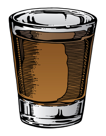 Shot Glass Hand Drawn is an illustration of a shot glass with whiskey or other alcohol. Hand drawn art gives this illustration a unique look and the color can be easily changed for different kinds of alcohol.