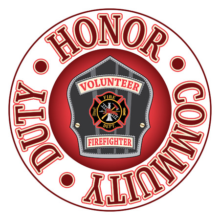 Illustration pour Volunteer Firefighter Duty Honor is an illustration of a firefighters or firemans badge or shield.  Includes a Maltese cross and firefighter tools logo inside of a shield shape and text that says Duty, Honor and Community. - image libre de droit