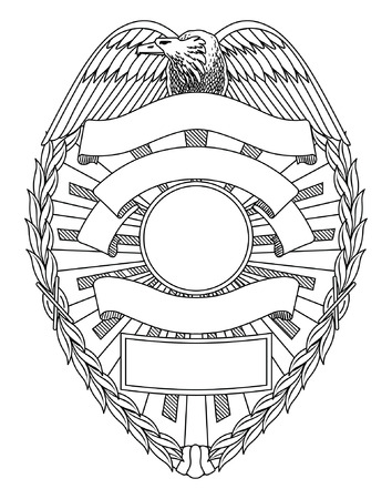 Ilustración de Police Badge Blank is an illustration of a police or law enforcement badge with open space for your specific text such as location, badge number, etc. - Imagen libre de derechos