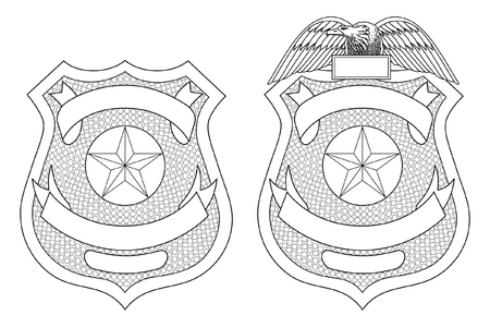 Ilustración de Police Law Enforcement Badge or Shield is an illustration of a police or law enforcement badge with and without the eagle on top. Includes open space for your specific text such as location, badge number, etc. - Imagen libre de derechos