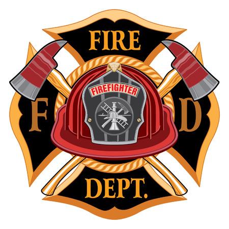 Ilustración de Fire Department Cross Vintage Emblem Concept Illustration. - Imagen libre de derechos