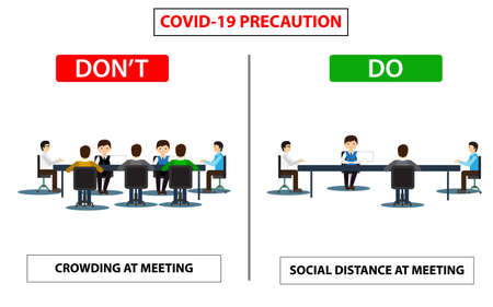 Ilustración de Do and don't poster for covid 19 corona virus. Safety instruction for office employees and staff. Victor illustration of maintain social distance in meeting room for covid 19 disease. - Imagen libre de derechos