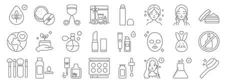 Illustration pour beauty cosmetics line icons. linear set. quality vector line. - image libre de droit