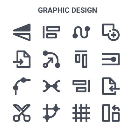 Illustration pour set of 16 graphic design concept vector line icons. - image libre de droit