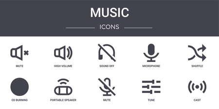 Ilustración de set of 10 music concept line icons. - Imagen libre de derechos