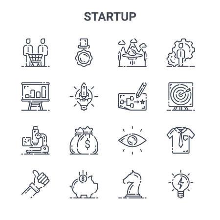 Illustration pour set of 16 startup concept vector line icons. - image libre de droit