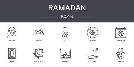 set of 10 ramadan concept line icons