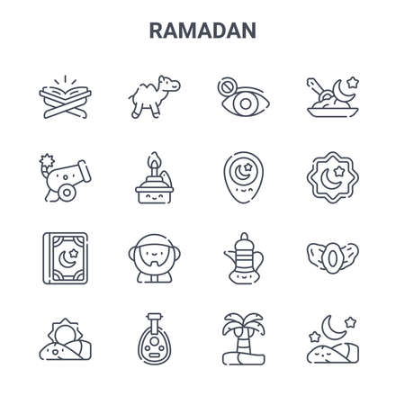 set of 16 ramadan concept vector line icons.