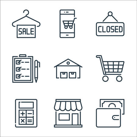 Illustration for ecommerce line icons. linear set. quality vector line set such as wallet, shopping store, mathematics tool, shopping cart, warehouses, checklist, label, mobile shopping - Royalty Free Image