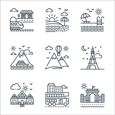 Illustration for tourism line icons. linear set. quality vector line set. - Royalty Free Image