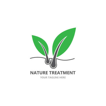 Illustration for Hair treatment logo vector icon template - Royalty Free Image