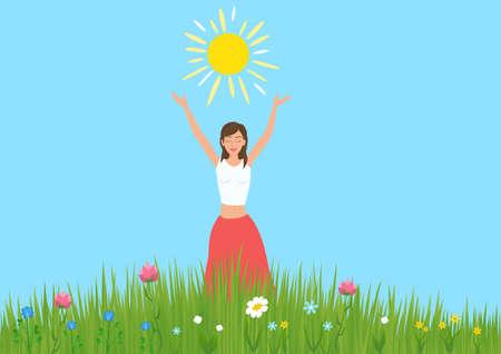 Vektor für Girl raised her hands and enjoys the sun in a meadow with flowers. - Lizenzfreies Bild
