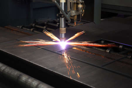 Photo for Industrial cnc plasma cutting of metal plate - Royalty Free Image