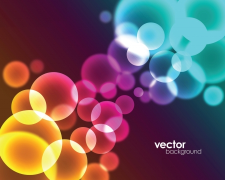 Colorful and stylish background design with the elements of circles and lights.