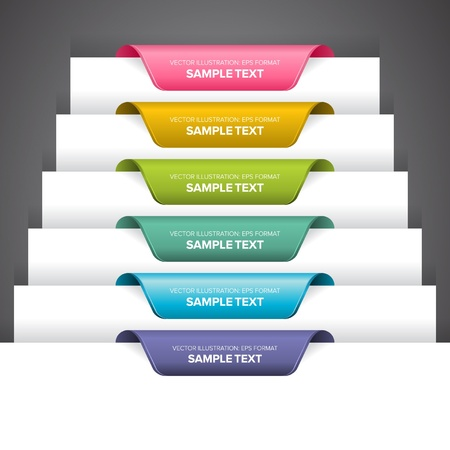 Bookmark labels, stickers or indications on the edge of a page.