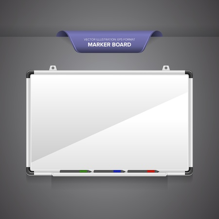 Marker board or whiteboard with markers isolated on blank grey background.