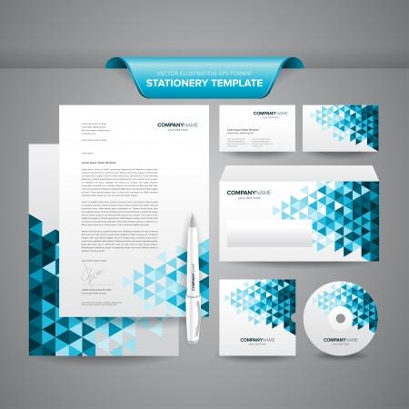 Ilustración de Complete set of business stationery template such as letterhead, envelope, business card, etc  - Imagen libre de derechos