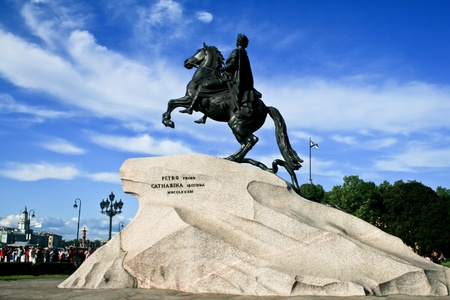 Bronze statue of Peter the Great (the First) on a horse in Saint Petersburg, Russia.