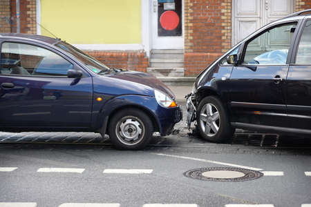 car crash or auto accident with front-end collision