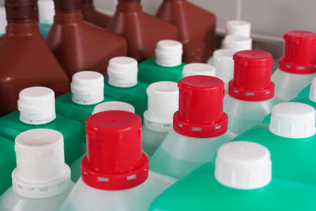 disinfectant bottles hospital supply stock - in high demand due to corona pandemic