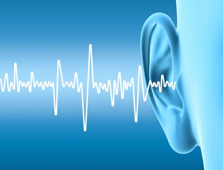 Photo for 3D illustration showing human ear with sound wave - Royalty Free Image