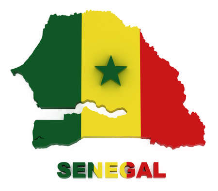 Senegal, map with flag, isolated on white