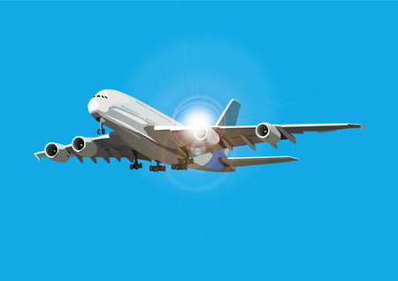 Illustration for Airliner flying against the sun, vector illustration, airplane on separate layer - Royalty Free Image