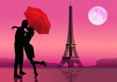 Couple in love, under red umbrella, in Paris. With the Eiffel Tower and moon on background. illustrationのイラスト素材