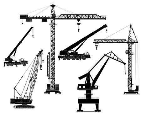 Ilustración de Building construction cranes set isolated on white vector detailed illustration. Icon. Flat style. Silhouette - Imagen libre de derechos