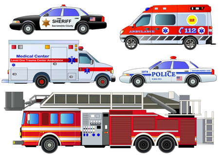 Illustration pour Emergency transport icons set. Vector set, isolated on white. Fire truck, ambulance vans, police cars. Flat style - image libre de droit