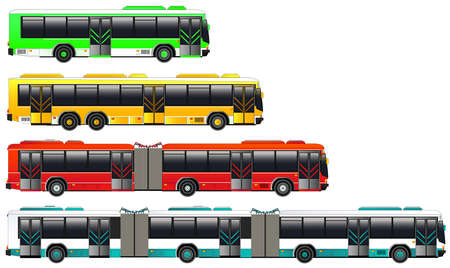 Illustration for City bus transportation set. Vector illustration. Double articulated bus icon. Isolated on white. Flat style - Royalty Free Image
