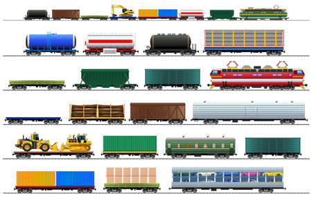 Cargo train cars. Railway carriage set. Color vector isolated on white background illustration Eps10. Silhouette